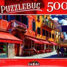 Quaint Cafe on a Sunny Side Street, Venice, Italy - 500 Pieces Jigsaw Puzzle