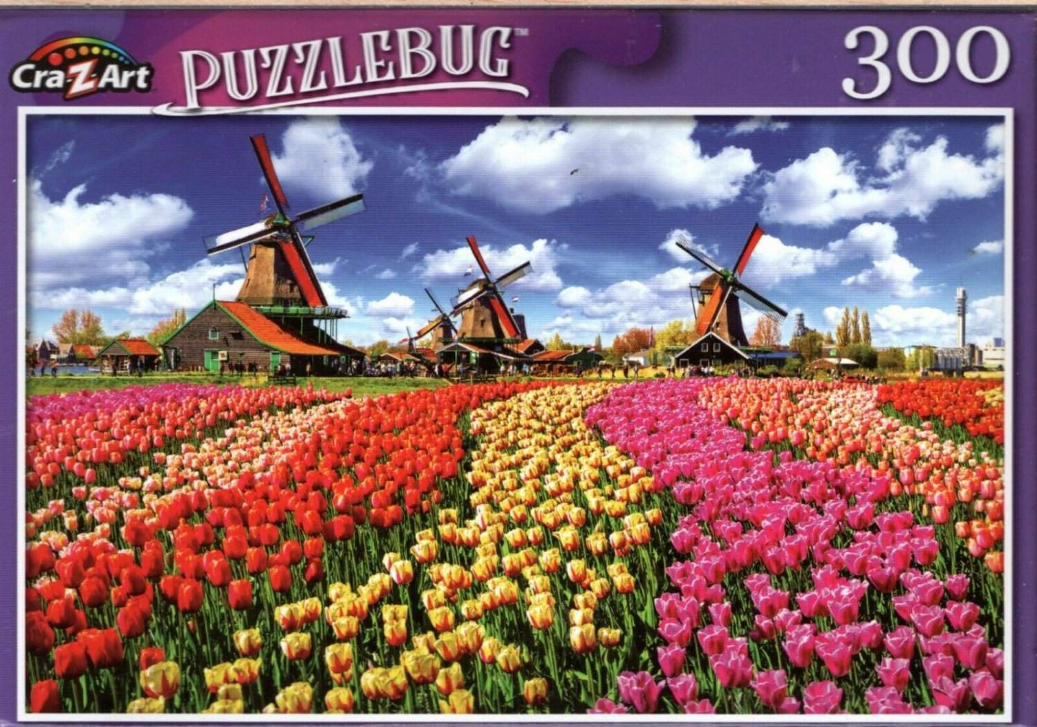 Traditional Dutch Windmills with Tulips, Netherlands - 300 Pieces Jigsaw Puzzle