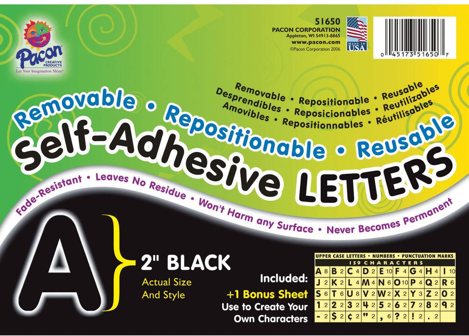 "Pacon Self-Adhesive Letters, Black, Puffy Font, 2"", 159 Characters"