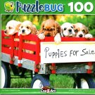 Red Wagon Puppies Sale - 100 Pieces Jigsaw Puzzle