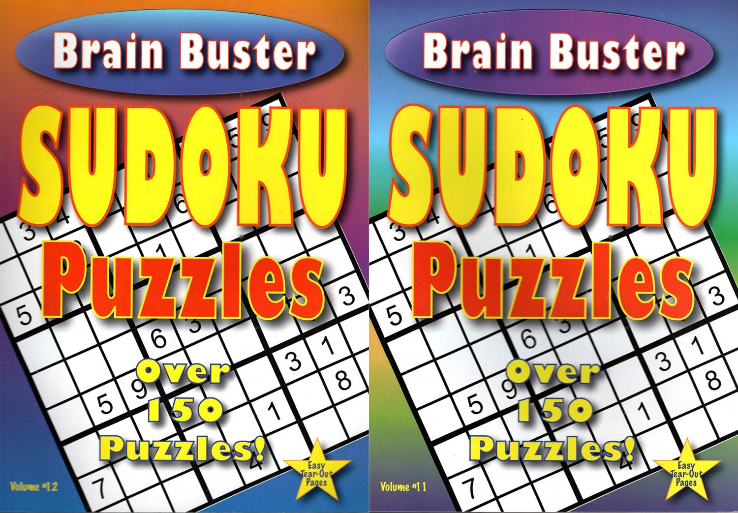 Brain Buster - Sudoku Puzzle - Easy - Medium - Expert - Over 150 Puzzles - Vol.11 - 12 (Set of 2)