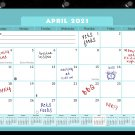2020-2021 Academic Year 12 Months Student Calendar/Planner, Desk or Wall, Use -v006