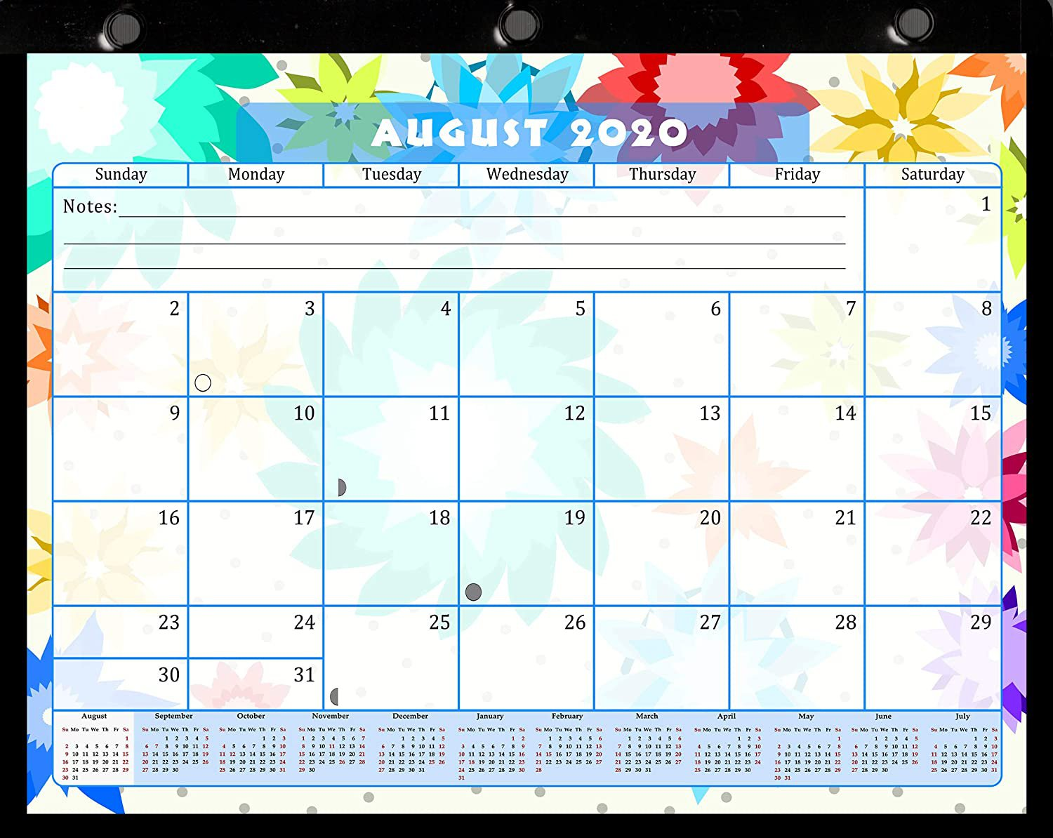 2020-2021 Academic Year 12 Months Student Calendar/Planner, Desk or Wall, Use -v008
