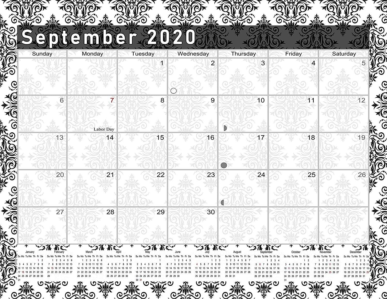 2020-2021 Monthly Magnetic/Desk Calendar - (Damask Edition #17-08)