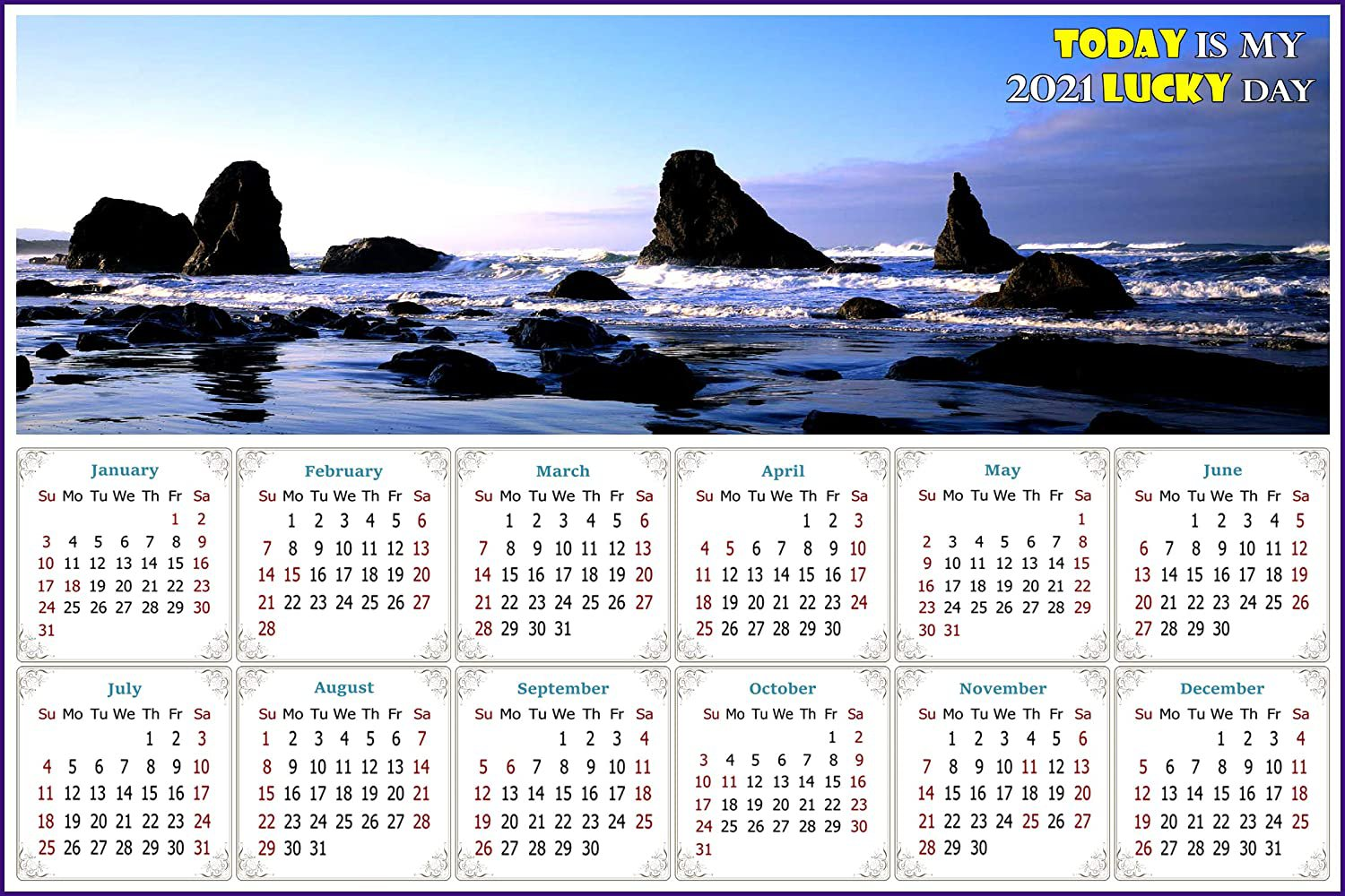 2021 Magnetic Calendar - Today is My Lucky Day - (Sea Stacks Near Bandon)