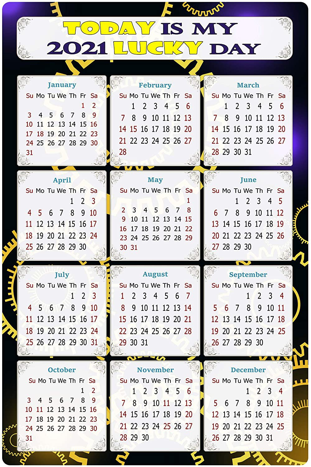 2021 Magnetic Calendar - Calendar Magnets - Today is My Lucky Day - Themed 05 (5.25 x 8)