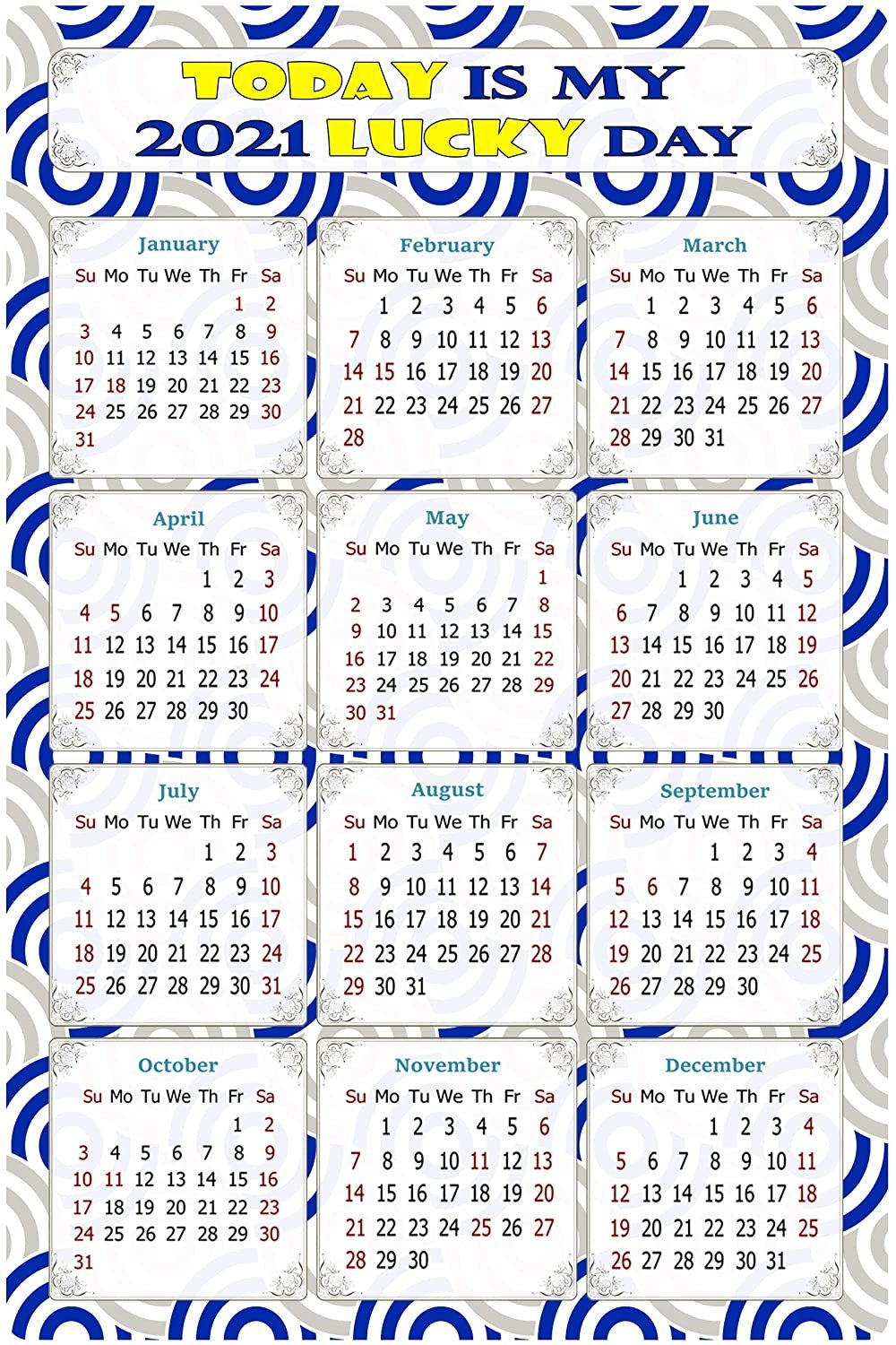 2021 Magnetic Calendar - Calendar Magnets - Today is My Lucky Day - Themed 08 (7 x 10.5)