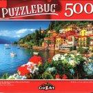 Colorful Mediterranean Villas on The Harbor, Lake Como, Italy - 500 Pieces Jigsaw Puzzle