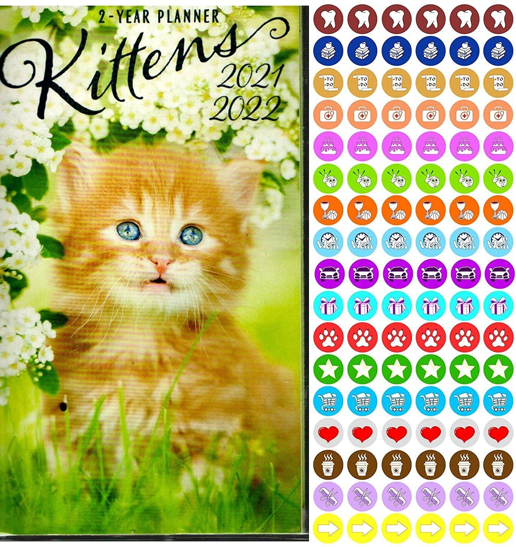 Kittens  2021-2022 2 Year Pocket Planner/Calendar/Organizer - with 100 Reminder Stickers