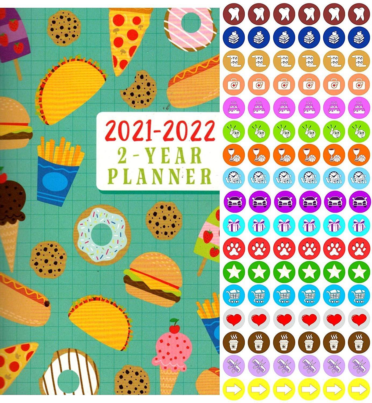 2021-2022 2 Year Pocket Planner/Calendar/Organizer - with 100 Reminder Stickers - v1