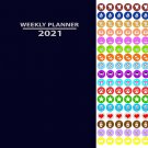 2021 Weekly Appointment Planner/Calendar/Organizer - Color Color (Navy Blue) - with 100 Stickers