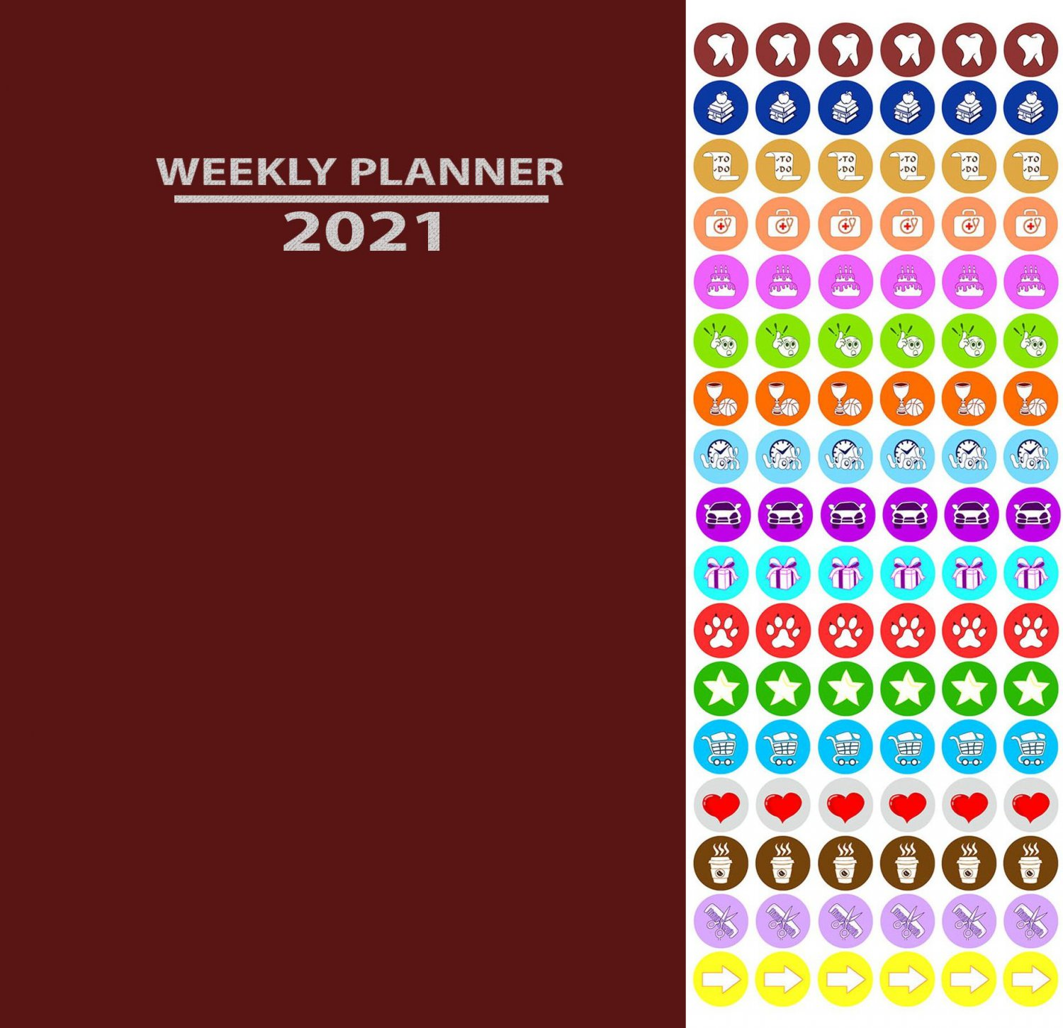 2021 Weekly Appointment Planner/Calendar/Organizer - Color Color (Red) - with 100 Stickers