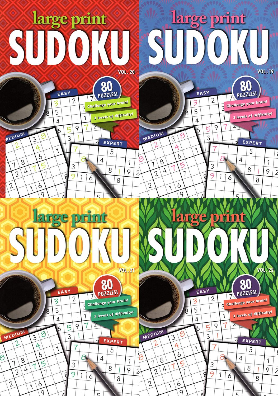 Large Print Sudoku Puzzle - Easy - Medium - Expert - All New Puzzles - Vol.19 - 22 (Set of 4 books)