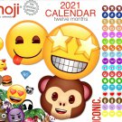 Emoji - 12 Month 2021 Wall Calendar - with 100 Reminder Stickers