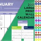 2021 16 Month Wall Calendar - Large Print Calendar - with 100 Reminder Stickers v4