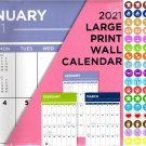2021 16 Month Wall Calendar - Large Print Calendar - with 100 Reminder Stickers v3