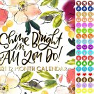 2021 12 Month Wall Calendar - Shine Bright in Am You Do! - with 100 Reminder Stick