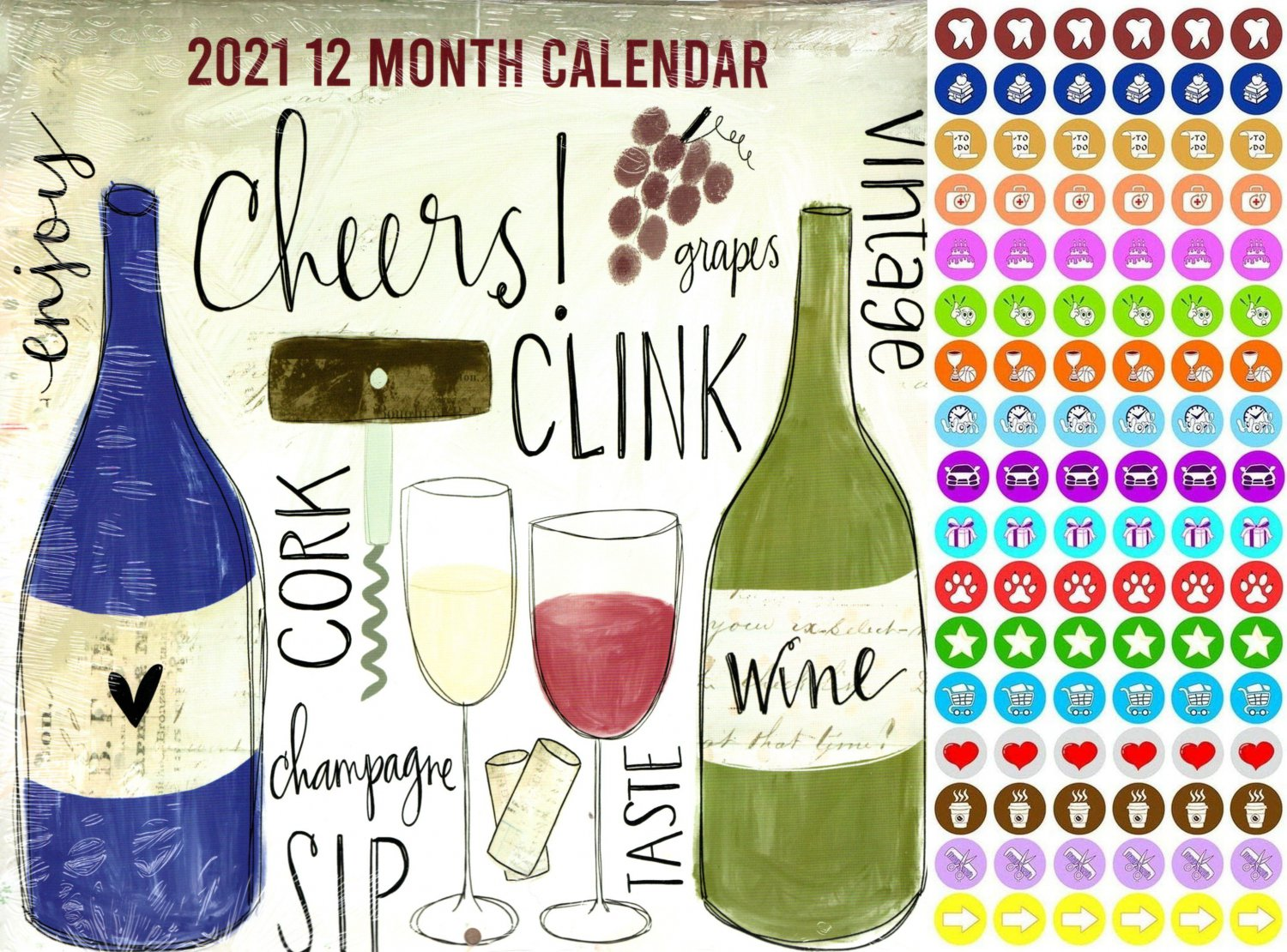 2021 12 Month Wall Calendar - Cheers, Enjoy, Wine - with 100 Reminder Stickers