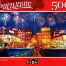 Boats and Fireworks in Amsterdam, Netherlands - 500 Pieces Jigsaw Puzzle