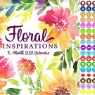 2021 16 Month Wall Calendar - Floral Inspirations - with 100 Reminder Stickers