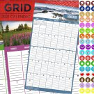 2021 16 Month Wall Calendar - Big Grid - with 100 Reminder Stickers