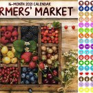 2021 16 Month Wall Calendar - Farmers Market - with 100 Reminder Stickers