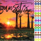 2021 16 Month Wall Calendar - Sunset - with 100 Reminder Stickers