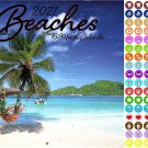 2021 16 Month Wall Calendar - Beaches - with 100 Reminder Stickers