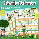 Undated 12 Month Wall Family Calendar - with Over 100 Stickers