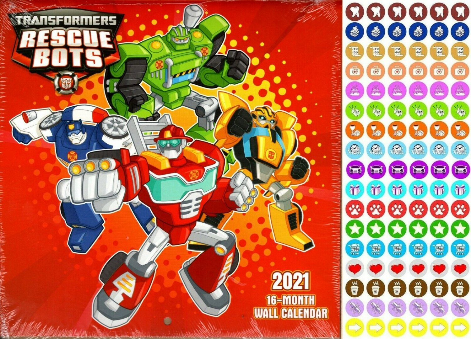 Transformers - 16 Month 2021 Wall Calendar - with 100 Reminder Stickers