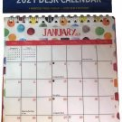 2021 Monthly Standing Desk Calendar Rainbow Watercolor Polka Dots