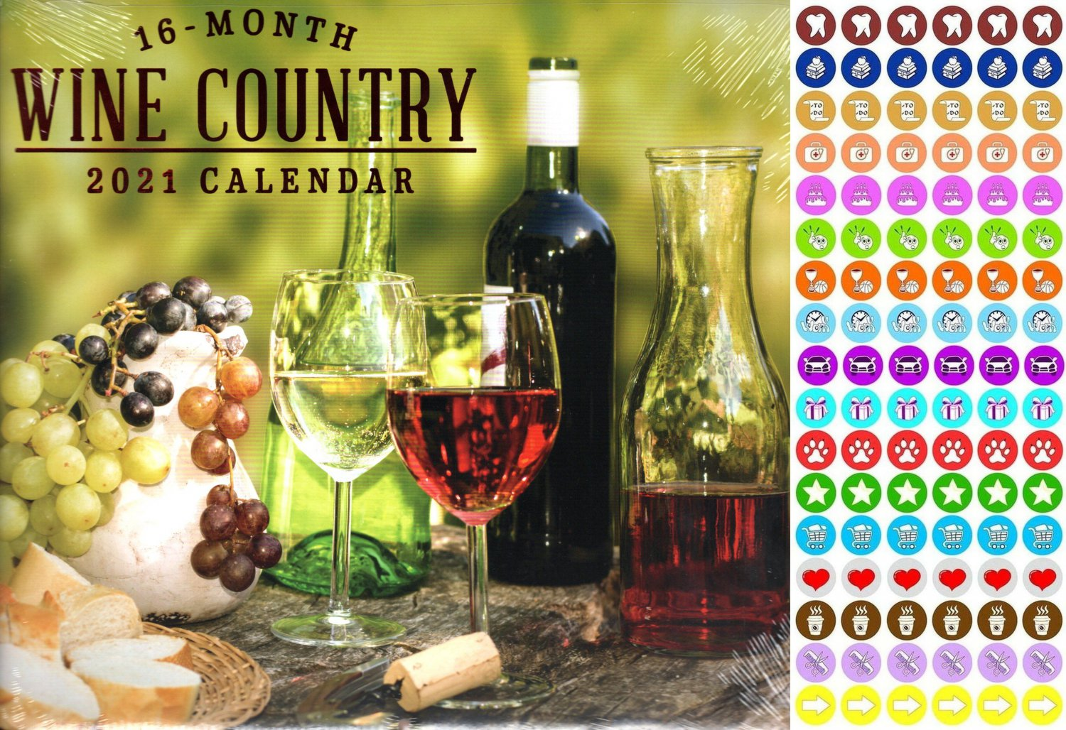 2021 16 Month Wall Calendar - Wine Country - with 100 Reminder Stickers