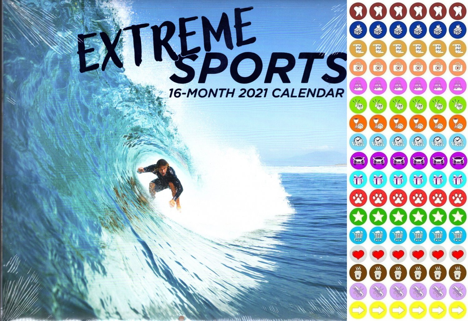 2021 16 Month Wall Calendar - Extreme Sports - with 100 Reminder Stickers