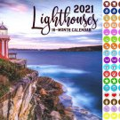 2021 16 Month Wall Calendar - Lighthouses - with 100 Reminder Stickers