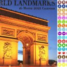 2021 16 Month Wall Calendar - World Landmarks - with 100 Reminder Stickers