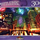 Fireworks Over Chicago Skyscrapers - 300 Pieces Jigsaw Puzzle