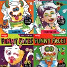 Funny Faces - Coloring Book - Over 50 Stickers - Robots, Pets, Mermaids, Aliens (Set of 4 Books)