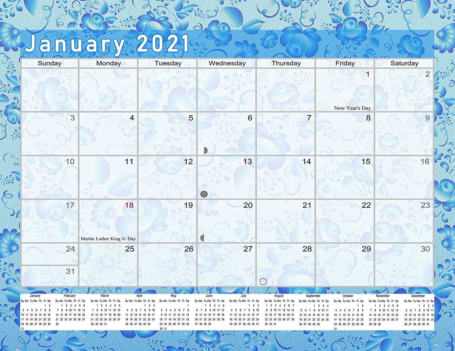 2021 Monthly Magnetic/Desk Calendar - 12 Months Desktop/Wall Calendar/Planner - (Edition #19)