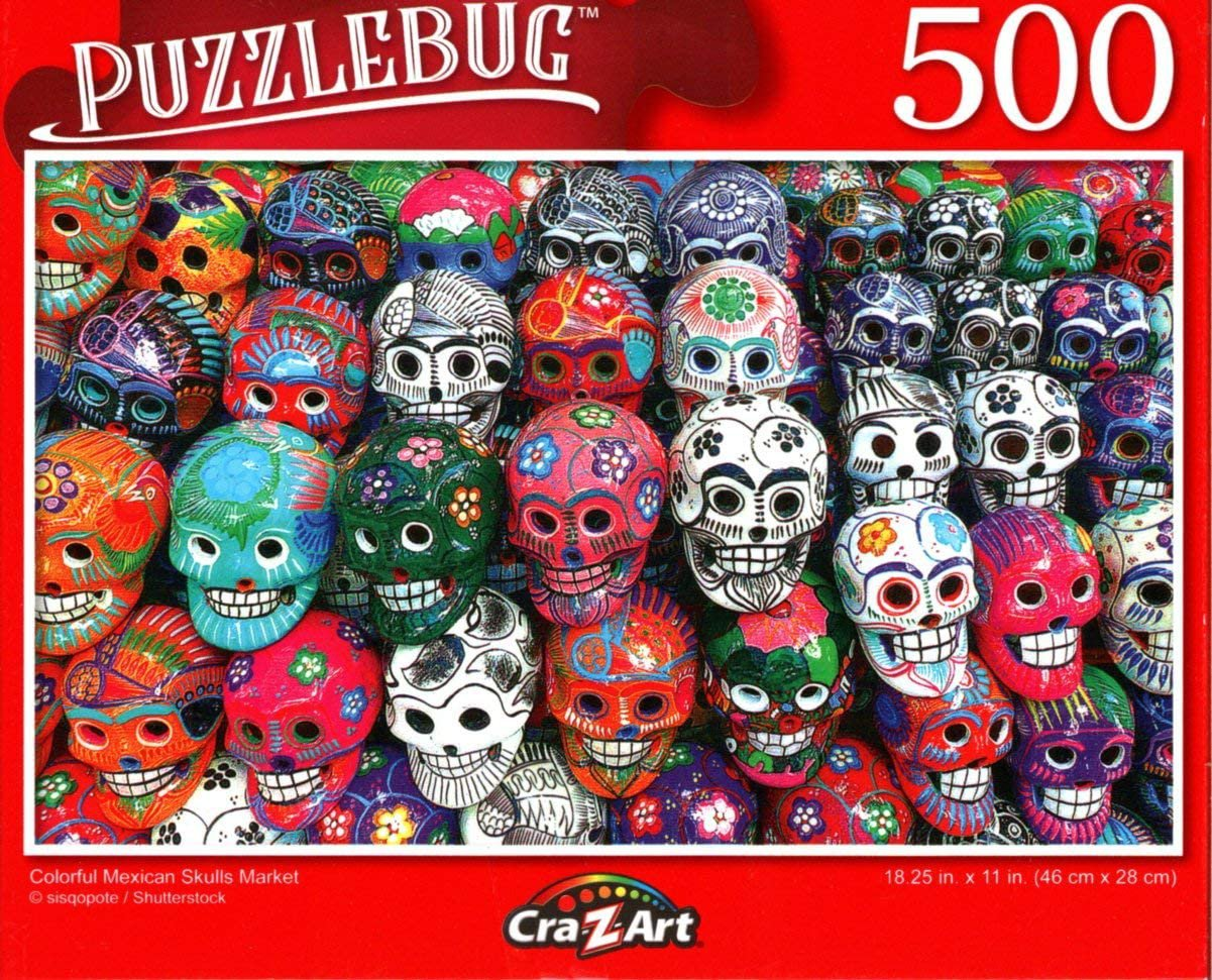 Colorful Mexican Skulls Market - 500 Pieces Jigsaw Puzzle