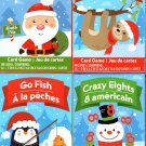 Go Fish, Crazy Eights, Sloth Rummy, Matching - Christmas Playing Cards Game - (Set of 4 Cards)