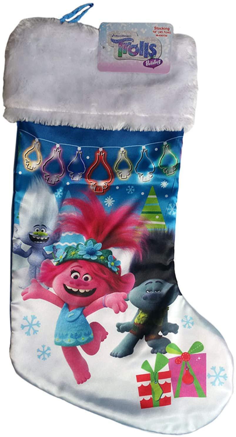 Ruz Trolls Holiday Christmas Satin Stocking with Plush Cuff 18 inch (9842)