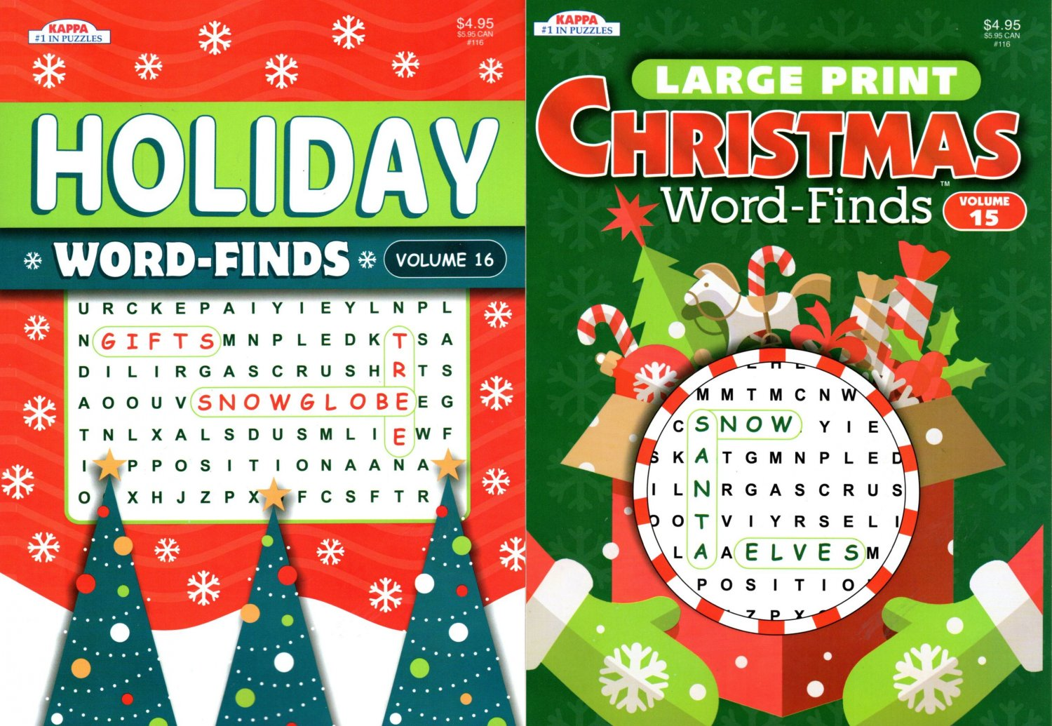Large Print - Christmas Holiday - Word-Finds vol.15-16 (Set of 2 Books)