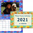 2021 Photo Frame Wall Spiral-Bound Calendar (Geometrics Edition #022)