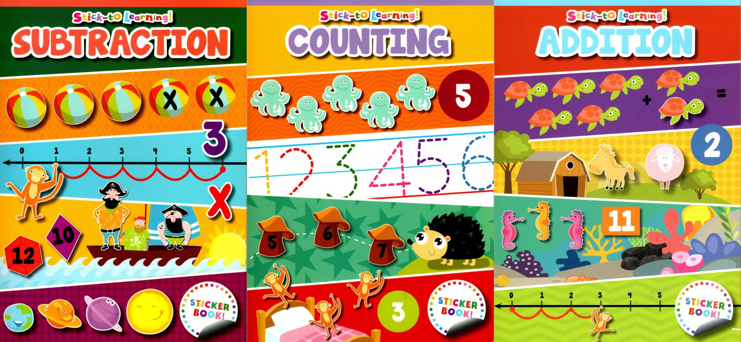 Stick-to Learning - Addition, Counting, Subtraction - Sticker Book - (Set of 3 Books)