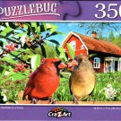 Northern Cardinals on a Fence - 350 Pieces Jigsaw Puzzle