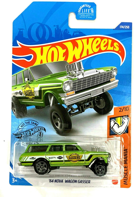 DieCast Hotwheels '64 Nova Wagon Gasser 174/250 (Green), Muscle Mania 2/10