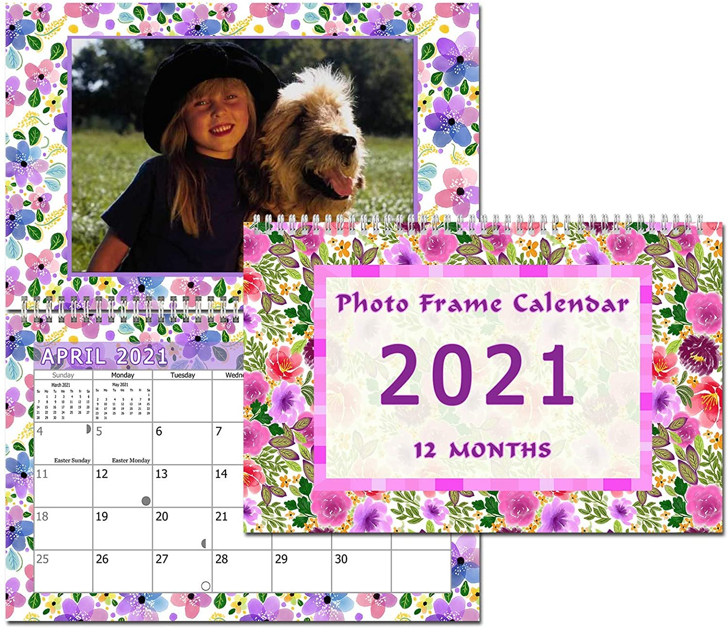 2021 Photo Frame Wall Spiral-Bound Calendar (Geometrics Edition #024)
