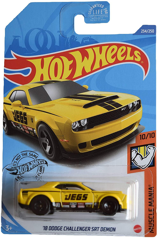 DieCast Hotwheels '18 Dodge Challenger SRT Demon 234/250 [Yellow], Muscle Mania 10/10