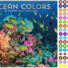 2021 16 Month Wall Calendar - Ocean Colors  - with 100 Reminder Stickers