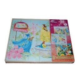 DISNEY 24 PIECE WOOD PUZZLES..THREE PUZZLES WITH TRAY